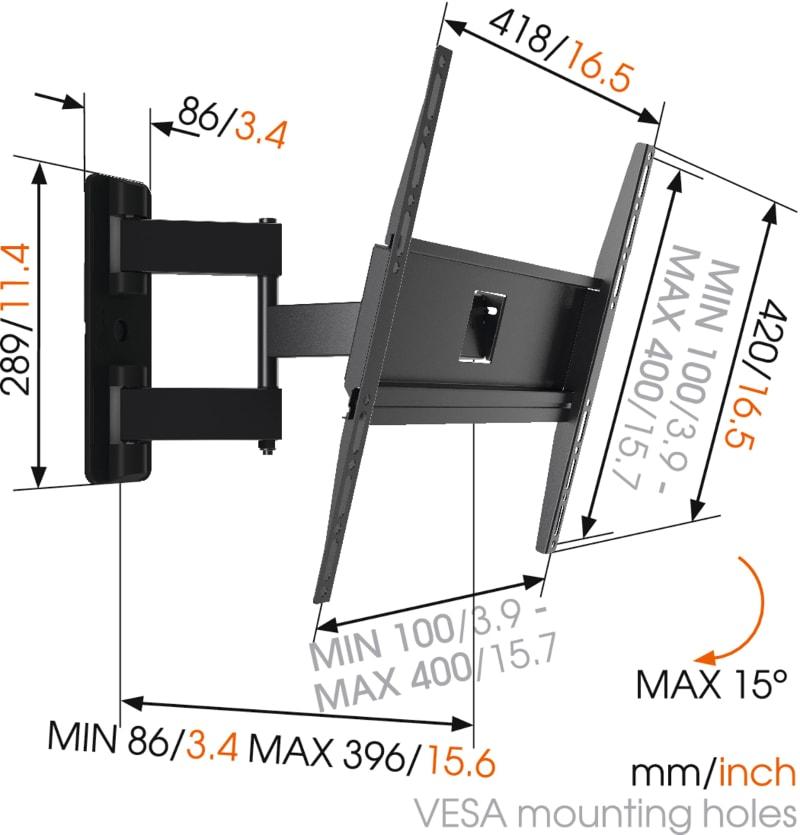 MA3040 - Ścienny uchwyt do telewizorów - Uchwyty do TV LCD / plazma / LED